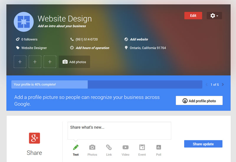 Google+ for business profile dashboard
