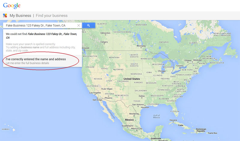 Google local map for business